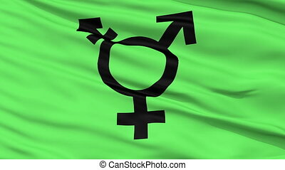 Transgender Symbol Close Up Waving Flag - Transgender Symbol...