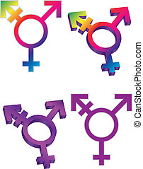 Transgender Symbols Isolated on White Background Illustration