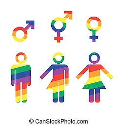 Transgender transsexual concept. Various identities. Icon set in rainbow colors of different gender persons with male female marker. Vector illustration on white background for signage and web use.