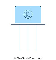 Transistor Icon. Thin Line With Blue Fill Design. Vector Illustration.