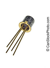 Transistor with 4 leads in metal casing isolated on white