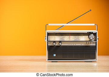 transistor, interior., madera, radio, receptor, hogar,...