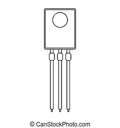 Transistor outline icon. Vector illustration