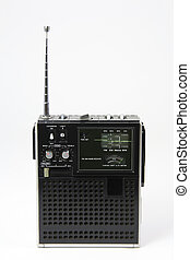 Vintage transistor radio with short wave and marine band on white