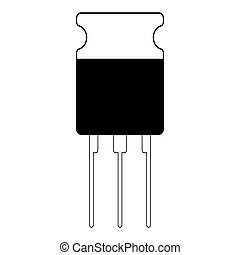 transistor is a semiconductor element icon, vector electronic component transistor