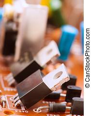 transistoren, kondensatoren, widerstände, und, andere, elektronisch, komponenten, aufgestellt, auf, hauptplatine