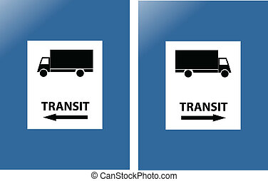 transit blue traffic sign