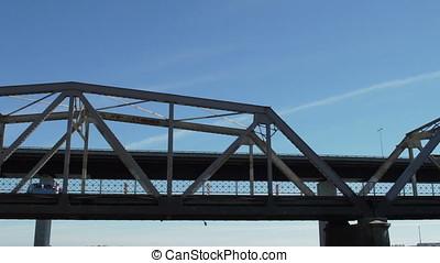 transit over the bridge at dawn