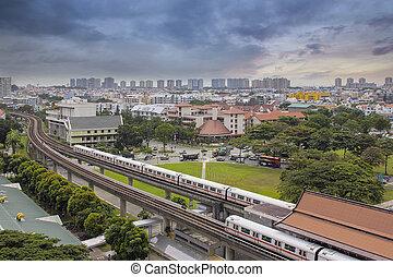 transit rapide, station, masse, singapour