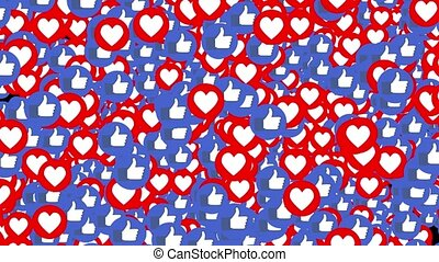 Transition more of pop up likes and hearts on a black...