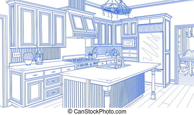 Transition Of Beautiful Custom Kitchen From Drawing to Completion.