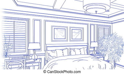 Transition Of Beautiful Custom Master Bedroom From Drawing to Completion.