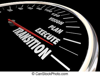 Transition Vision Planning Execution Speedometer 3d Illustration