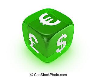 translúcido, verde, dados, con, moneda, señal