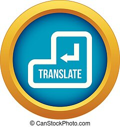 Translate button icon blue vector isolated