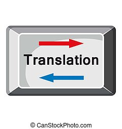 Translate button icon, cartoon style