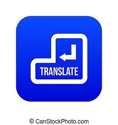 Translate button icon digital blue