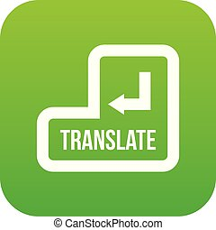 Translate button icon digital green