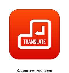 Translate button icon digital red