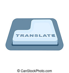 Translate button icon in cartoon style isolated on white background. Interpreter and translator symbol stock bitmap, rastr illustration.