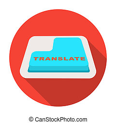Translate button icon in flat style isolated on white background. Interpreter and translator symbol stock bitmap, rastr illustration.