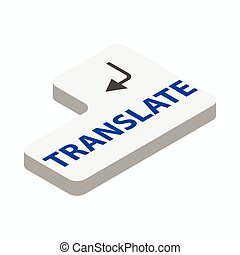 Translate button icon, isometric 3d style