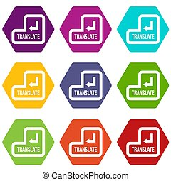 Translate button icon set color hexahedron