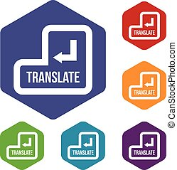 Translate button icons set