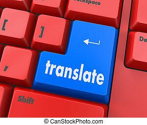 Translate  Virtual translator concept - modernized computer keyboard