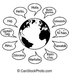 Translate Earth Languages say Hello World in speech bubbles.