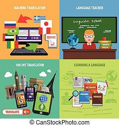 Translate Square Decorative Icons Set