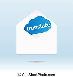 translate word on blue cloud on open envelope