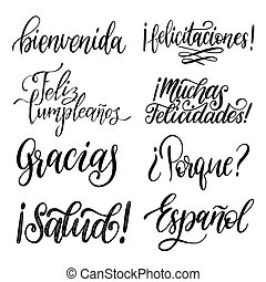 Translated from Spanish handwritten phrases Welcome, Thank ...