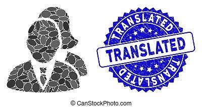 translated, timbre, mosaïque, icône, détresse, gens