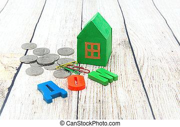 translation:, 집, 돈., /, 종이, 녹색, 새로운, 러시아어, 가정의 구매