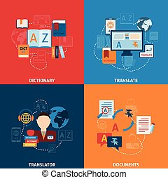 Translation and dictionary flat icons composition -...