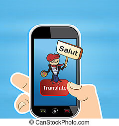 Translation app concept - Hand holding a smart phone with...