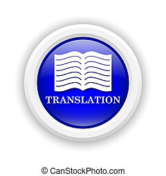 Translation book icon - Round plastic icon with white design...