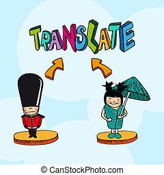 Translation concept english chinese people cartoon.