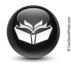 Translation icon glassy black round button