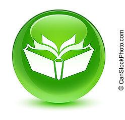Translation icon glassy green round button