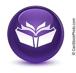 Translation icon glassy purple round button