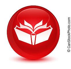 Translation icon glassy red round button