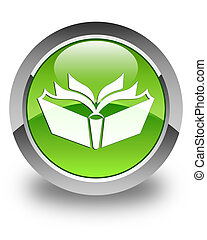 Translation icon glossy green round button