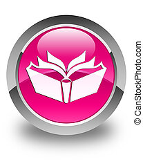 Translation icon glossy pink round button
