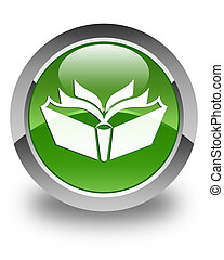 Translation icon glossy soft green round button