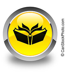 Translation icon glossy yellow round button