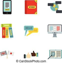 Translation icons set, flat style