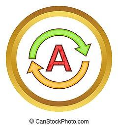 Translation language icon in golden circle, cartoon style ...