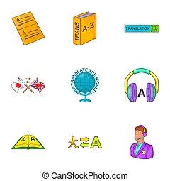 Translation of language icons set, cartoon style